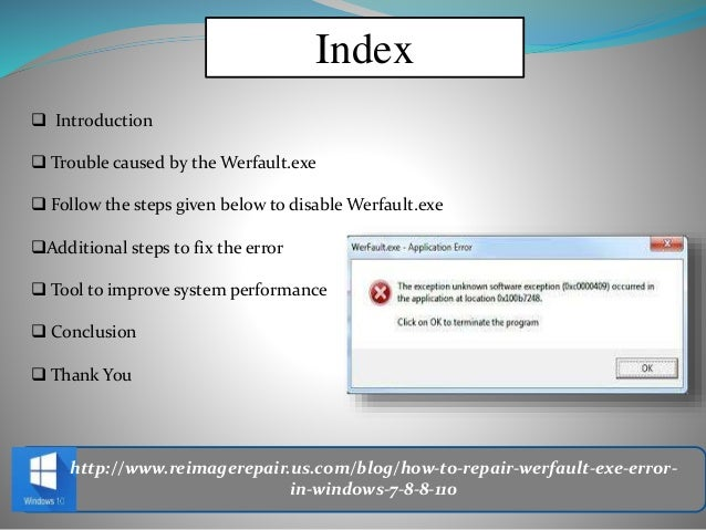 werfault.exe windows 10 the instruction at
