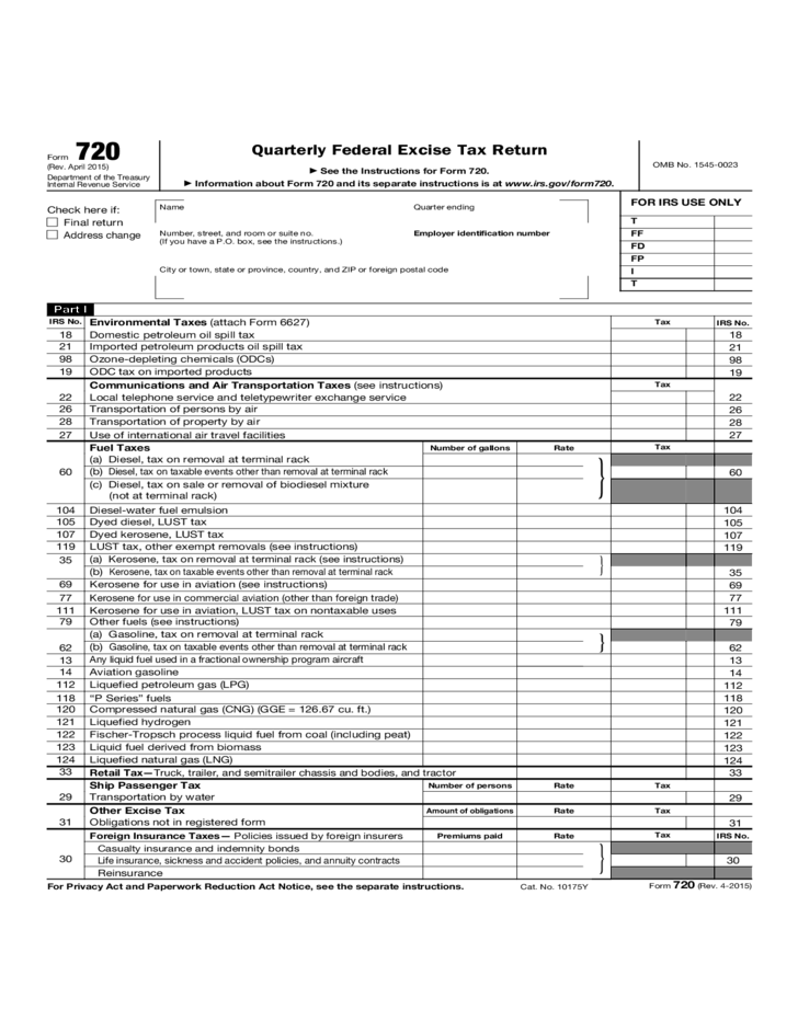 quarterly federal excise tax return instructions